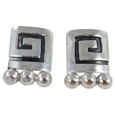 Vintage Mexican Taxco Sterling Silver Modernistic Earrings.