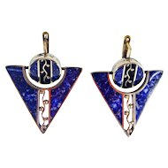 Inlaid Lapis Triangle and Round Earrings
