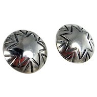Navajo Sterling Silver Earrings with Star Shaped Stampwork C. 1950-70s