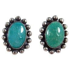 Navajo – Fred Harvey Era Sterling & Turquoise Earrings – C. 1950s