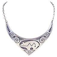 Navajo Vernon Begay Sterling Silver Overlay Necklace