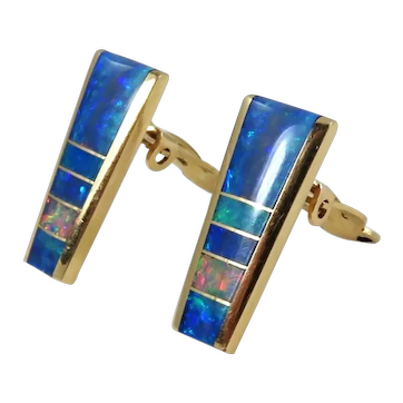 Navajo – 14k Gold and Channel Inlay Opal Earrings