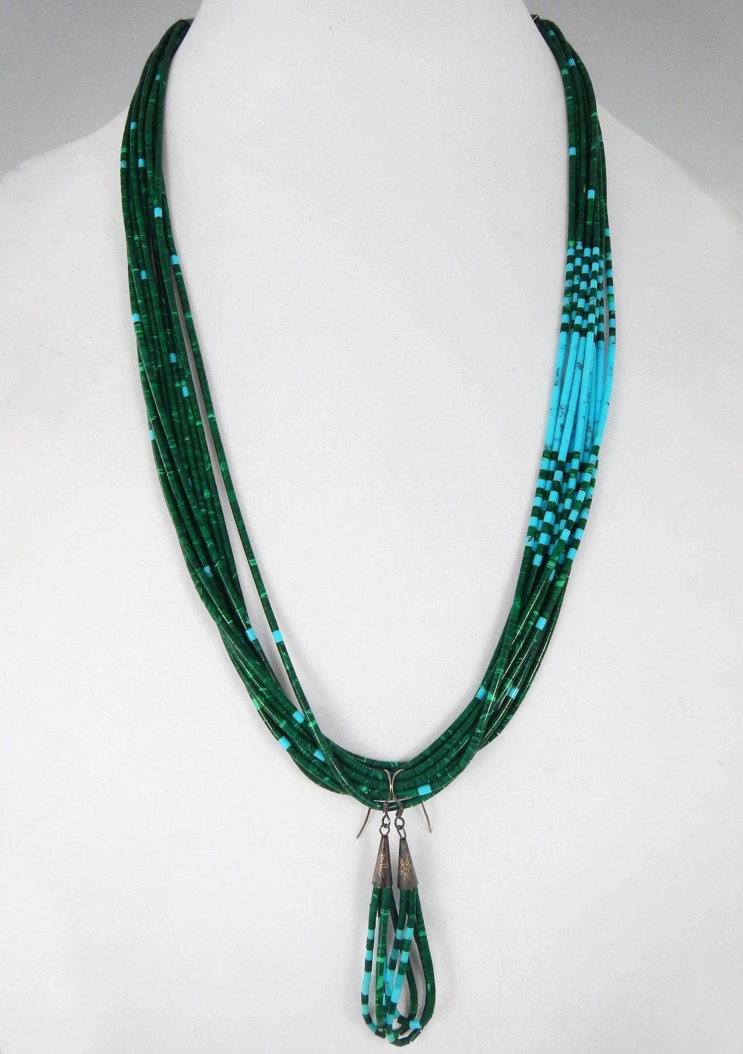 by turquoise and necklace village shell santo ramona domingo heishi olive products coral bird