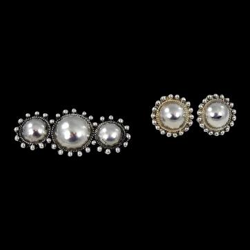 Navajo – Fred Harvey Era, Sterling Domed Pin & Earrings Set