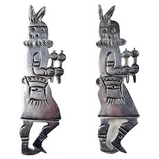 Navajo – Sterling Silver Mudhead kachina Dancer Earrings