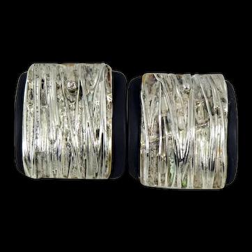 VINTAGE Modernist Sterling Silver with Gray Slate Earrings