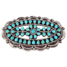 Zuni – Attributed to Jack Weekoty - Sterling Silver & Turquoise Cluster Pin – C. 1960-70s