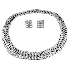 Mexican – Sterling Flat wire Mesh Necklace & Earrings Set