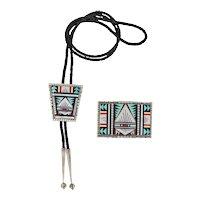 Zuni – Andrew Dewa, Multi Stone Mosaic inlay Bolo and Buckle Set