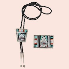 Zuni – Andrew Dewa, Multi Stone Mosaic inlay Bolo and Buckle Set