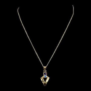Navajo – Ervin Hoskie, 14k Gold, Multi Stone Inlay Pendant/Necklace