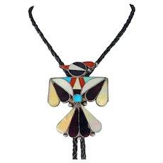 Zuni – Ray & Bernice Wyaco, Sterling, Multi Stone Inlay Hopi Bird Bolo.