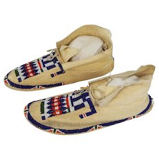 Buffalo Brain Tanned and Beaded Men's Cheyenne Moccasins