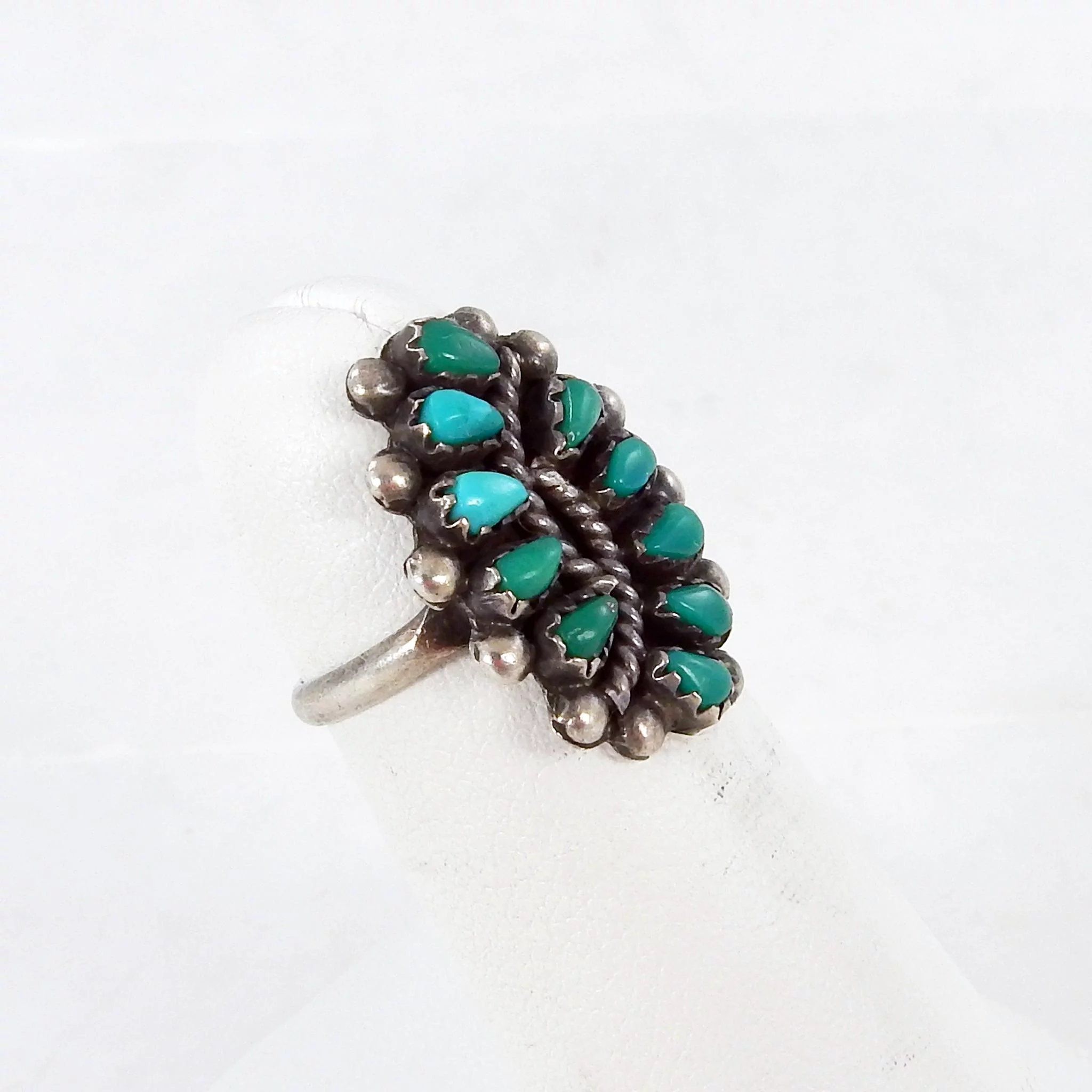 71765162677d3 Zuni - Sharon Hustito Sterling and Turquoise Petit Point Ring - C. 1970s