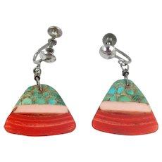 Santo Domingo Depression Era Mosaic Earrings C. 1920-40s