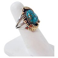 Isleta - Kathy Abeita Sterling Silver, 14k Gold with High Grade Lone Mountain Turquoise Ring