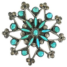 Zuni – Sterling Silver and Turquoise Needlepoint Pin