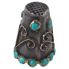 Mexican – Sterling and Turquoise Thimble C. 1955-80