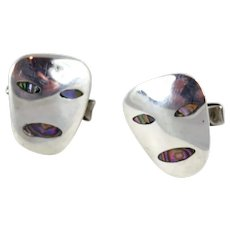 Taxco/Mexico Sterling Silver and Abalone Shell Face Cufflinks