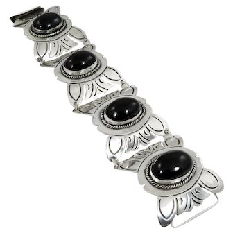 Mexican – Sterling and Black Onyx Bracelet – C. 1930s
