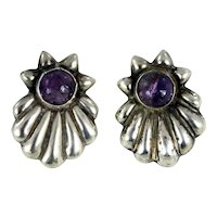 Antique Mexican – Sterling Silver and Amethyst Earrings