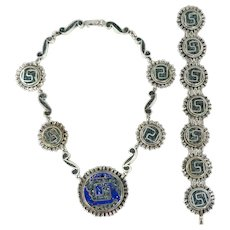 Taxco/Mexican – Bernice I. Goodspeed Sterling Inlay Bracelet & Necklace Set