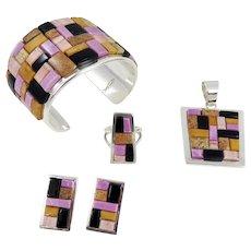 Navajo – Tommy Jackson Bracelet, Ring, Earring & Pendant Set