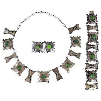Mexican – Carlos Melendez Sterling Necklace, Bracelet & Earring Set
