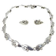Taxco/Mexico - Sterling Silver Necklace & Earrings Set