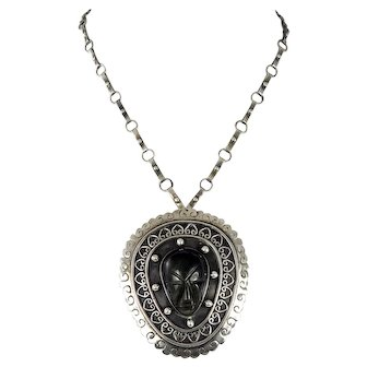 Taxco/Mexican – Sterling & Black Obsidian Pin/Pendant Necklace