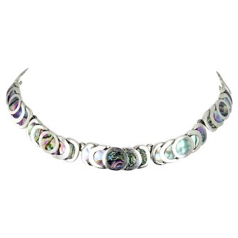 Taxco/Mexican – Francisco Rivera Sterling and Abalone Necklace