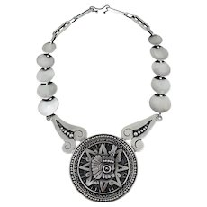 Taxco/Mexico Sterling Silver Aztec Calendar Necklace