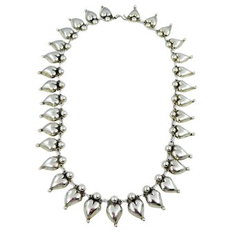 Mexican – Sterling Silver Heart Link Necklace C. 1920-30s