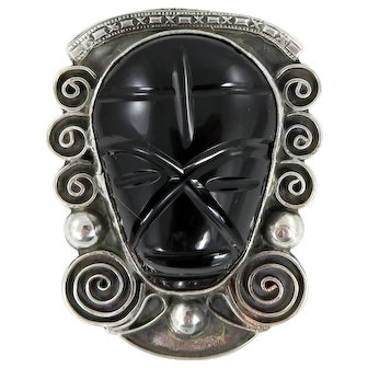 Mexican – Sterling Silver Black Onyx Mask Pin