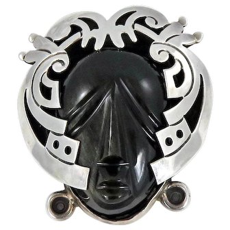 Taxco/Mexican – Sterling Silver and Obsidian Aztec Face Pin/Pendant