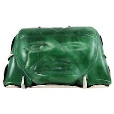Mexican – Sterling and Jade Aztec Face Pin