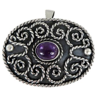 Taxco/Mexico – Los Ballesteros Sterling Silver and Amethyst Pin/Pendant