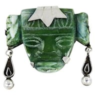 Mexican – Sterling and green Stone Aztec Face Pin