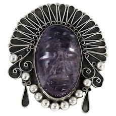 Mexico – Sterling Silver and Amethyst Face Pin