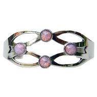 Mexican Sterling Silver Split Shank with Jelly Opal Bracelet