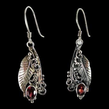 Sterling Silver & Garnet Dangle Earrings