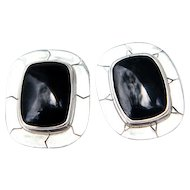 Sterling and Black Onyx Oval Earrings
