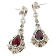 Sterling Silver Marcasite and Garnet Dangle Earrings