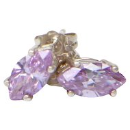 Sterling Silver with a Purple Marquise Cut Cubic Zirconia Earrings