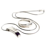 Sterling and Purple Amethyst Necklace and Ring Set. -  Urban Stamp work.