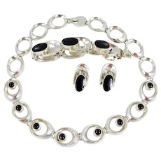 Mexican/Taxco Sterling and Black Onyx  Necklace, Bracelet & Earring Set