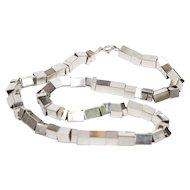 Vintage Sterling Silver Square Box Link Necklace