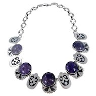 Mexican – Sterling Silver and Amethyst Link Necklace