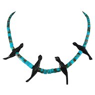 ZUNI Turquoise and Jet Fetish Bird Necklace