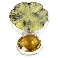 Sterling Silver, Jade Lotus Flower with Oval Citrine Pendant.